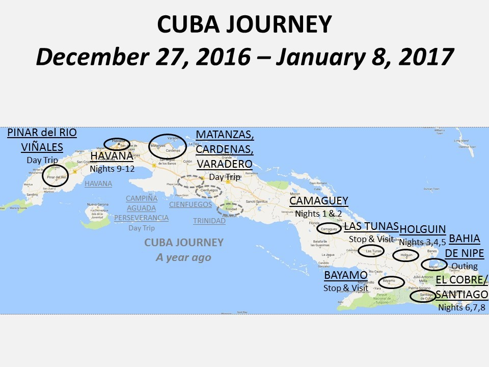 Cuba Journey Itinerary Map